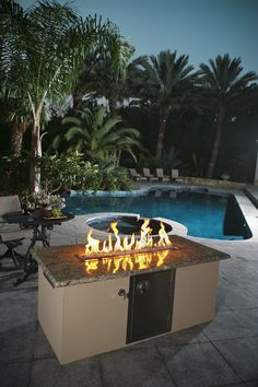 You don't just have to use granite as a countertop! You can also use it to surround a fire pit!