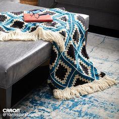 Caron Diamond Crochet Granny Afghan