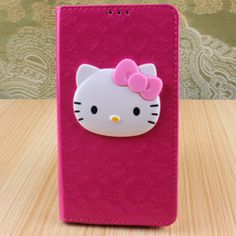 Leather Hello Kitty Card Wallet Case for SamSung Galaxy Note 3 III N9000 Rose
