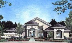 House Plans One Story, Best House Plans, Dream House Plans, House Floor Plans, Mediterranean House Plans, Mediterranean Design, Florida Style, Florida Home, Vaulted Living Rooms