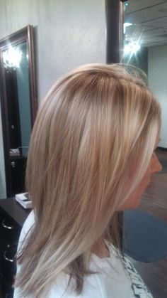 Gold and beige highlights with blonde balayage- Lussuria Salon. Done by Danielle