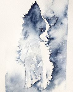 Papillon Art Print/ Puppy/ Watercolor Papillon/ Indigo/ Pet