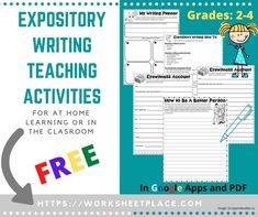 A complete set of activitites to teach your kids expository writing, one of the 6 writing genres students should know. Great for at home learning or in the classroom. Writing Lesson Plans, Writing Lessons, Writing Prompts, Free Worksheets, Writing Worksheets, Writing Activities, Writing Genres, Expository Writing, Learning To Write