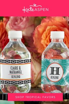 In a fun geometric or palms design, you can keep guests hydrated and tied right in to your style! | Personalized Water Bottle Labels - Tropical Chic | Kate Aspen Personalized Water Bottle Labels, Personalized Favors, Baby Aspen, Bachelorette Parties, Chic Wedding, Palms, Drink Bottles, Baby Shop, Baby Gifts