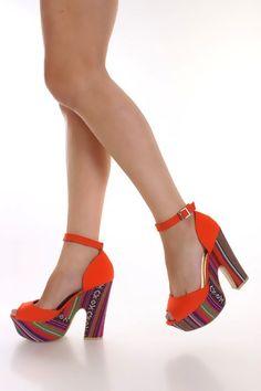 Orange Peep Toe Chevron Platform Heels Canvas