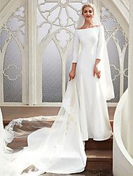 cheap Wedding Dresses-A-Line Bateau Neck Chapel Train Satin Made-To-Measure Wedding Dresses with by LAN TING BRIDE®