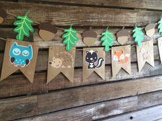 Add whimsical style to a birthday party or baby shower with this embossed Woodland Party Banner. Use it to decorate a wall, a backdrop or your sweets table..etc. The possibilities are endless.  QUANTITY: ● 1 Woodland Banner with 6 Creatures: 1 Hedgehog, 1 Fox, 1 Raccoon, 1 Owl, 1 Skunk, and 1 Fawn ● Optional: Leaf and Acorn Banner- 5 length  COLORS: ● Brown, Tan, Black, Green, Blue, Orange, White Note: Glitter, metallic and other colors can be added/changed, additional fees apply. Please…