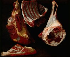 Attributed to Felice Boselli (Italian, Viandes de boucherie [Butcher meat]. Oil on canvas, 60 x 73 cm. Meat Art, Vanitas, Food Art, Still Life, Oil On Canvas, At Least, Bitter, Naruto Oc, Hannibal Lecter