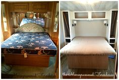 the Monogrammed Farmhouse: Camper Renovation progress!  bedroom before and during