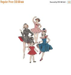 SALE 1950s Girls Dance Costume Sewing Pattern Bust 26