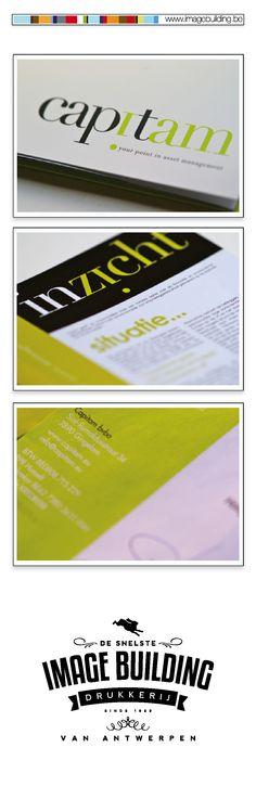 Huisstijl ontwerp en drukwerk voor 'Capitam'. Map voor documenten. Visitekaartjes. Briefhoofd. Omslagen. 3 maandelijks magazine. Kerstkaarten. Website. #imagebuildingnv #desnelstedrukkerijvanantwerpen #huisstijl #graphicdesign #grafisch #ontwerp #opmaak #drukwerk