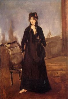 Young woman with a pink shoe (Portrait of Berthe Morisot) - Edouard Manet