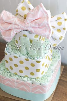 NEW Gorgeous Pink, Gold and Mint Baby Girl 3-tier Square Diaper Cake or Shower Centerpiece by WittsEndDesign on Etsy https://www.etsy.com/listing/221431674/new-gorgeous-pink-gold-and-mint-baby