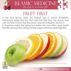 Holy Quran Eat fruit first before a meal Islamic Teachings, Islamic Quotes, Sufi Quotes, Muslim Quotes, Quran Quotes, Qoutes, Islam And Science, Halal Recipes, Learn Islam