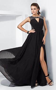 very black tieeee   A-line Jewel Sweep/Brush Train Chiffon Evening Dress With Sp... – USD $ 195.99