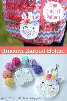 Free Crochet Pattern - Unicorn Earbud Holder by A Crocheted Simplicity The Sun's Out! Crochet Drink Coasters are a super quick crochet project and are great for gifts, or to add some summer fun to your entertaining space! Crochet Gifts, Cute Crochet, Crochet Hooks, Quick Crochet, Crochet Headbands, Double Crochet, Crochet Handbags, Crochet Purses, Crochet Bags