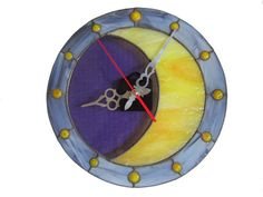 [gallery] Unique lunar wall clock made of stained glass. The wall art displays the beauty of moon and stars, that give such a magical feeling of serenity. Stained Glass Projects, Stained Glass Art, Mosaic Glass, Moon Clock, Tiffany, How To Make Wall Clock, Unique Wall Clocks, Star Wall, Clock Decor