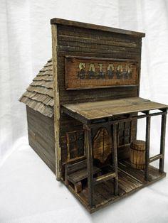 Antique Style Birdhouse, Old West Birdhouse, Saloon, Barnwood Birdhouse…