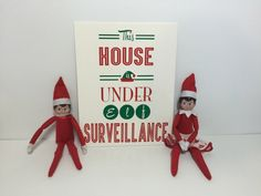 Do you have a little elf that monitors your childrens behaviour in December? Set the scene with our Elf sign as a reminder to you kids that they are Elf On The Self, Cute Signs, Christmas Elf, Shelf, My Etsy Shop, Holiday Decor, Handmade Gifts, December, Store