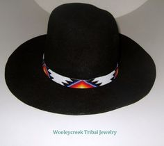 42ec77bbd7b This beaded hat band is a Native American Creek design made using a bead  loom. This was woven using size 11 Czech glass beads. It has a background  color of ...