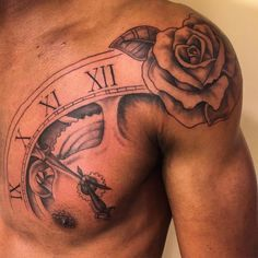 shoulder rose tattoos for men