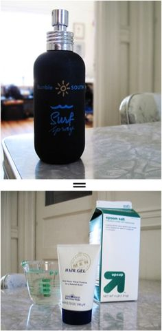 Surf Spray Make it at home.  Why pay $20 when you can make it at home for $0.02?    Recipe:    3 teaspoons Epsom Salt  3 squirts Water-Based Hair Gel  4 ounces Tap Water    (Pour all ingredients into your empty B bottle & shake well before each use.)