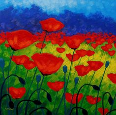 Poppy Corner II Painting by John Nolan - Poppy Corner II Fine Art Prints and Posters for Sale