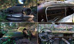 Rust in peace: Haunting pictures of the Belgian 'car graveyard' where U. soldiers hid beautiful vintage motors after WWII Abandoned Cars, Abandoned Places, Haunted Pictures, Car Dump, Car Sit, Rust In Peace, Unusual Homes, Car Makes, Old Models