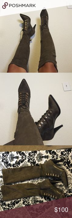 H&M over the knee boots Worn once true to size 8 , leather stretch top part that zips super comfortable in PRISTINE condition H&M Shoes Over the Knee Boots