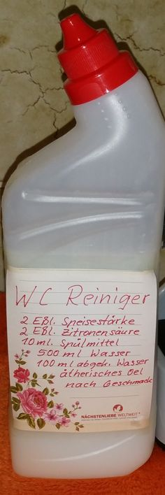 - WC-Reiniger selbst herstellen Make your own toilet cleaner Cleaning Day, Green Cleaning, House Cleaning Tips, Diy Cleaning Products, Cleaning Hacks, Diy Hacks, Toilet Cleaner Diy, Maquillaje Diy, Limpieza Natural