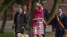 Queen Mathilde of Belgian visited the visual impairtment center 'L'Oeuvre Fédérale Les Amis des Aveugles et Malvoyants' helping people suffering of visual impairment and blindness at Ghlin near Mons in Belgium on April 28, 2015.