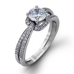 Shop online SIMON G MR2319 Halo 18K - White Gold Diamond Engagement Ring at Arthur's Jewelers. Free Shipping