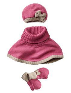 Bonnet + tour de cou + moufles fille BLEU GRISE+MAUVE VIF - vertbaudet enfant