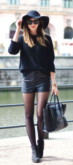 All black outfit, leather shorts, shorts with tights, ankle boots