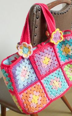 Crochet granny square bag