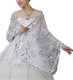 Women's Sequined Wedding Shawl Wrap Formal Evening Party Shawls Scarves Girls Scarf (style2 white)