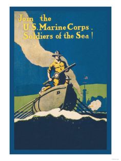 East Urban Home 'Join the U. Marine Corps Soldiers of the Sea!, Vintage Advertisement on Canvas Size: H x W x D Marine Corps Recruiting, Us Marine Corps, Marine Life, Ww1 Posters, Military History, Military Art, Military Salute, Military Pins, Once A Marine