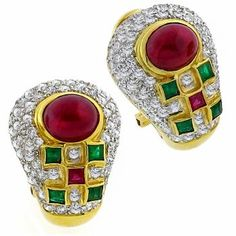 Estate 3.00ct Cabochon & Square Cut Ruby 0.35ct Square Cut Emerald 2.00ct Round Cut Diamond 18k Yellow Gold Earrings - See more at: http://www.newyorkestatejewelry.com/earrings/3.00ct-ruby-0.35ct-emerald-2.00ct-diamond-gold-earrings-/25206/5/item#sthash.kXRNFibz.dpuf