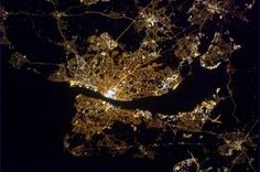 Chris Hadfield image taken from International Space Station of Liverpool, River Mersey and Wirral Peninsula.