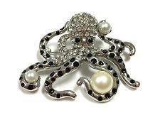 Fabulous Estate Silver Pave Rhinestone Enamel Pearl Octopus Brooch Pin i21g