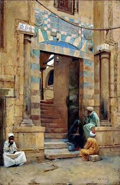 The Mosque  by By Charles Wilda - Austrian, 1854-1907  Oil on panel , 36 x 23.5 cm