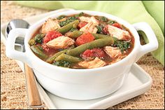 Hungry Girl's 5-ingredient Mama Shelley's Slow-Cooker Chicken - chicken, stewed tomatoes, green beans, and spinach