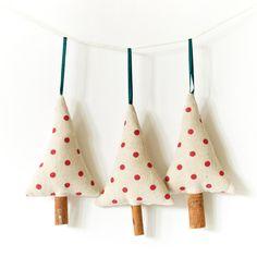 Primitive Holiday Ornament Christmas Decoration Cinnamon Trees - Set of 3