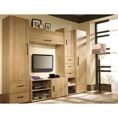 Mobila sufragerie-living Luis Tv Console Design, Tv Cabinet Design, Tv Wall Design, Home Room Design, House Design, Furniture Dressing Table, Modern Tv Wall Units, Wooden Tv Stands, Living Room Tv Unit Designs