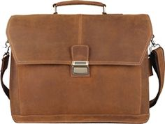 The Pratt Leather Chancellor briefcase features weathered leather construction in a modern design. Comes with three main sections and looks great monogrammed!