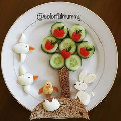Bugün herkese ve getirsin. Let today bring us and… Food Art For Kids, Cooking With Kids, Art Kids, Cute Snacks, Cute Food, Funny Food, Toddler Meals, Kids Meals, Veggie Art