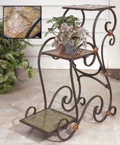 Wrought Iron Step-Shaped 3 Tier Plant Stand