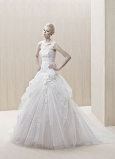 """Easton"" strapless tulle ball gown wedding dress with a subtle sweetheart neckline and draped skirt, Blue By Enzoani"
