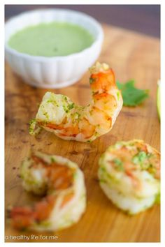Spicy Green Shrimp with Sauce Recipe with Amy Stafford at www.ahealthylifeforme.com