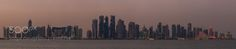 Doha Skyline - Early evening at Doha Port.  Doha Qatar  Panorama out of 6 single shots (landscape)
